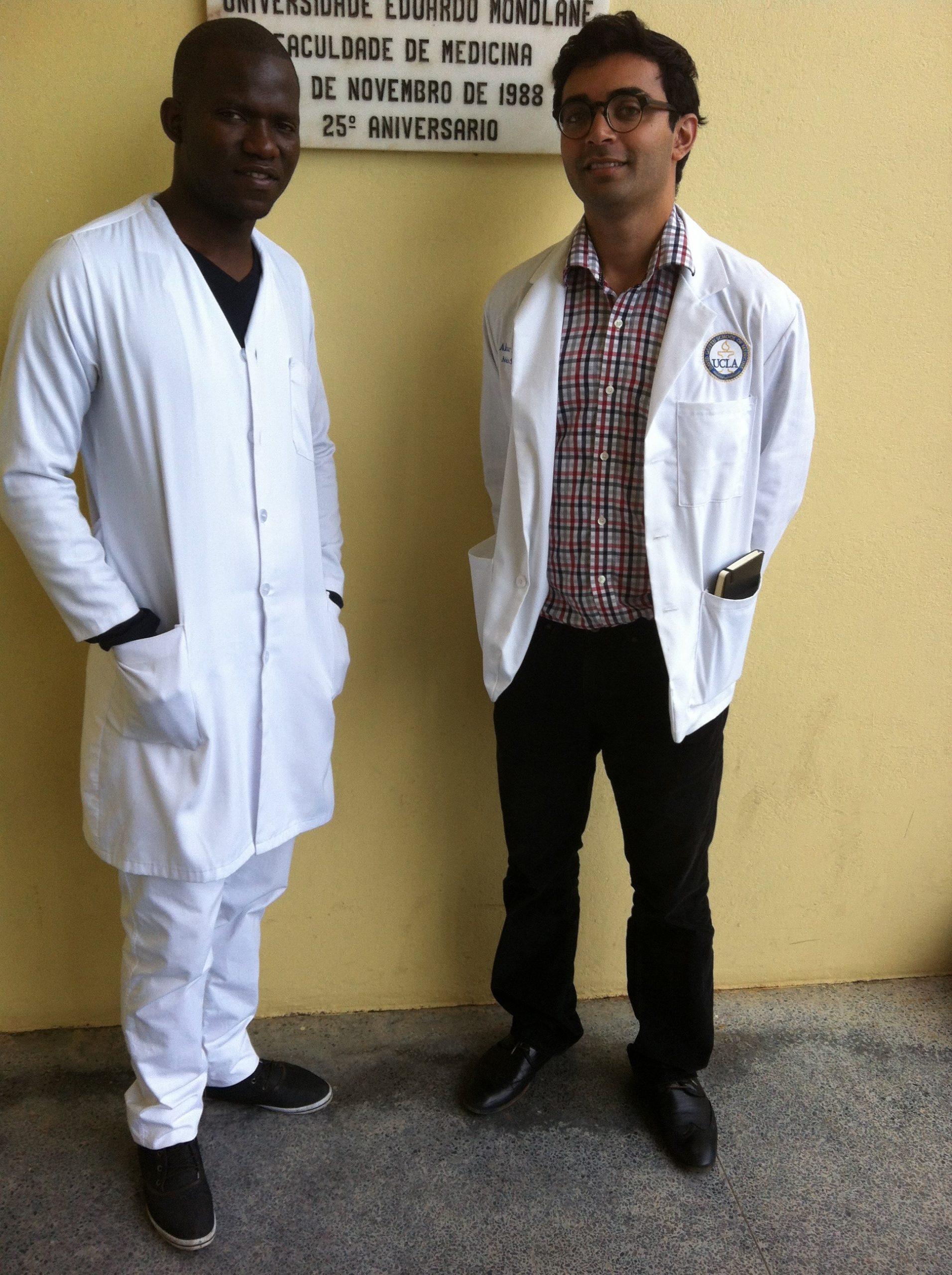 "Dr. Abraar Karan with ""PV"" his mentee at the Eduardo Mondlane Medical School in Maputo, Mozambique."
