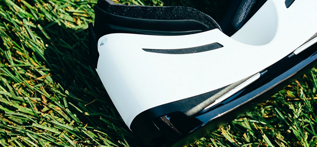 Virtual Reality Headset laying in the grass