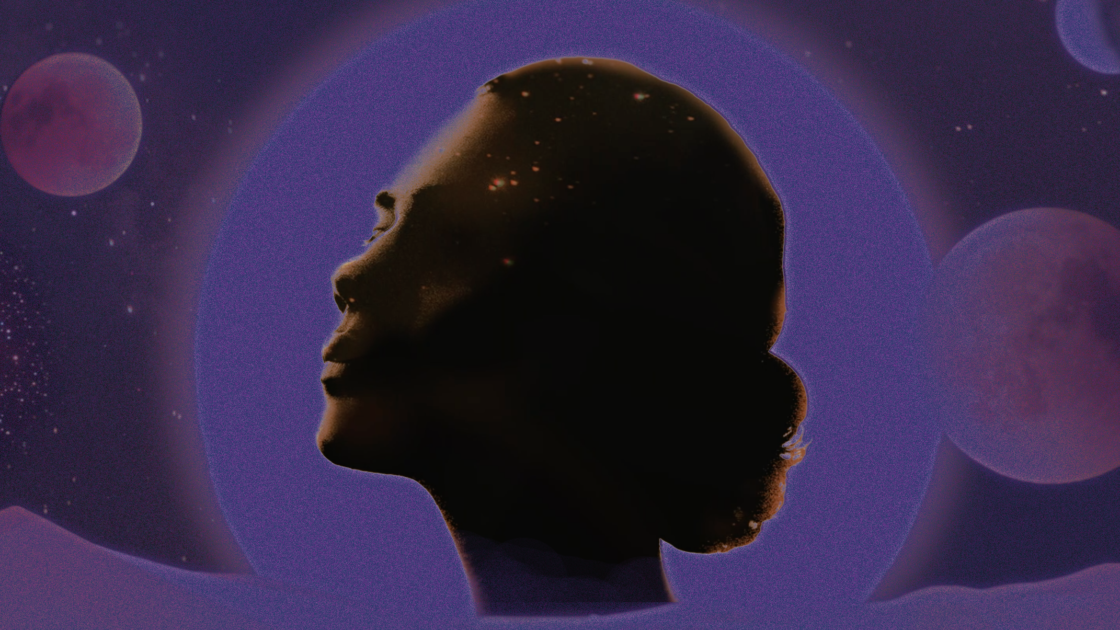 Shadowed profile of a woman
